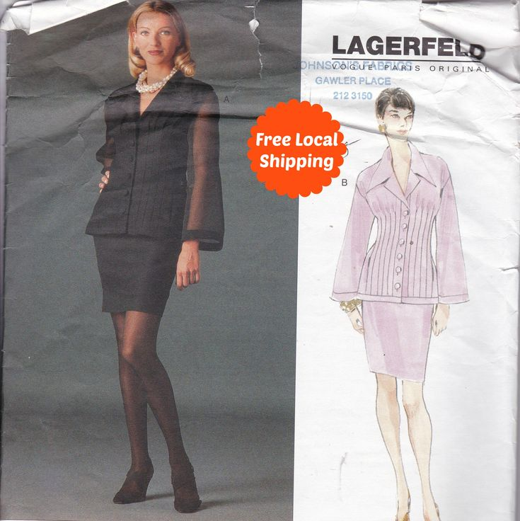 Vogue Designer Pattern Lagerfeld Sewing Patterns for Women Dress Pattern Vogue 1565 size 12 size 14 size 16 Evening Suit Skirt Top Difficult by PatternsFromOz on Etsy