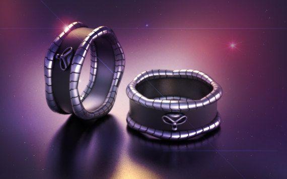 geek wedding ring, mens skull wedding ring, alien skull ring, boyfriend anniversary gift, biker skull ring, burning man, Alien ring, scifi
