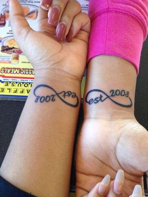 Infinity Best Friend Tattoos with Date