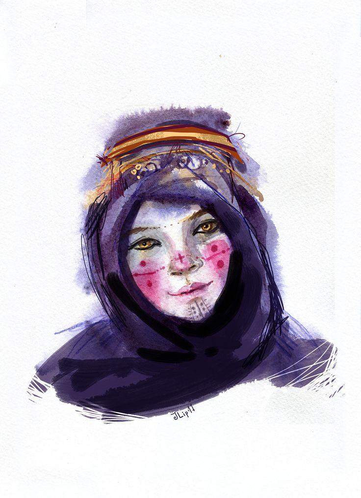 Просмотреть иллюстрацию Этно женщина из сообщества русскоязычных художников автора Юля Липовка в стилях: Живопись, Скетчи, Этюд, нарисованная техниками: Акварель.