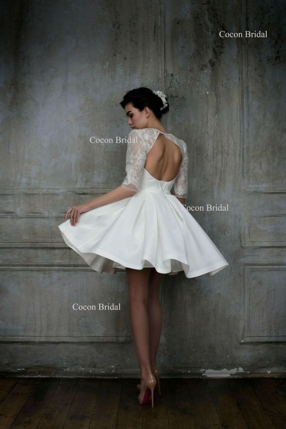 Short wedding dress knee length gown haute couture wedding