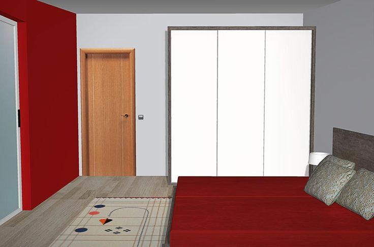Ahora podemos ver una imagen frontal del armario de puertas correderas, donde también podemos ver parte de la pared que hay enfrente del aro para somier doble ya que la tenemos pintada en color rojo como decía antes ya que es la pared donde está el ventanal de este dormitorio de matrimonio.
