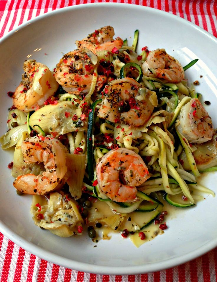 Healthy Shrimp Piccata with Zoodles (Zucchini Noodles)  I use asparagus in place of artichoke & add spaghetti or B-nut squash & carrot zoodles