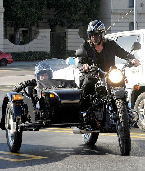 Brad Pitt Takes Son Pax, 8, on Motorcycle Ride