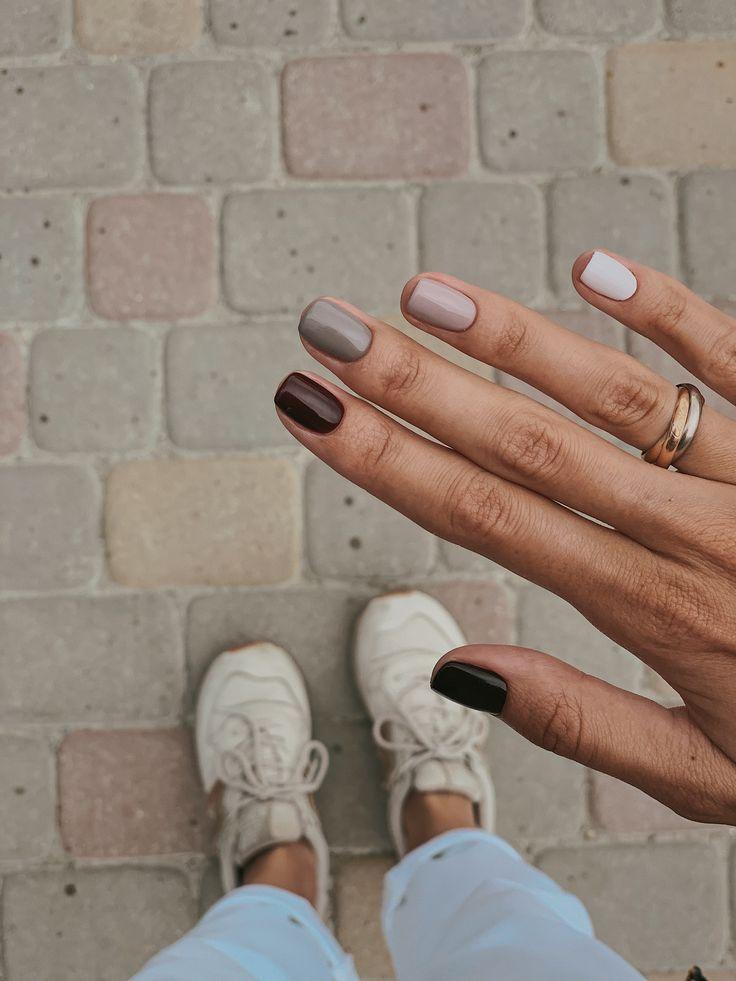 Manicure Fall Nail Colors Burgundy Wine Gray Pale Pink Manicure Mani Nailart Fall Fallfashion Style Minimalist Nails Nails Inspiration Cute Nails