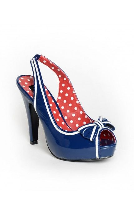 I need these so badly... Bettie Slingback Heel in Navy Patent - Shoes | Pinup Girl Clothing