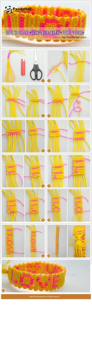 """Today, I will instruct you one of the entirely different kinds of string bracelets. By this tutorial, you can learn how to make string bracelets with words """"I LOVE YOU"""" on. For someone wonder to intensify and develop friendship, I definitely recommend it. by carole"""