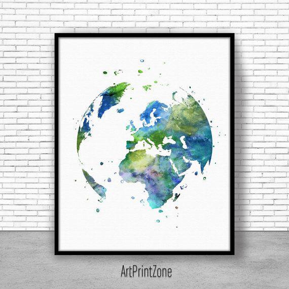 Globe Europe Print, Europe Poster, Earth Print, World Print, Earth Painting, Watercolor World, World Map Poster, World Map art Print #WorldMap #WatercolorWorldMap #WatercolorMap #WorldMapPoster #WatercolorWallArt