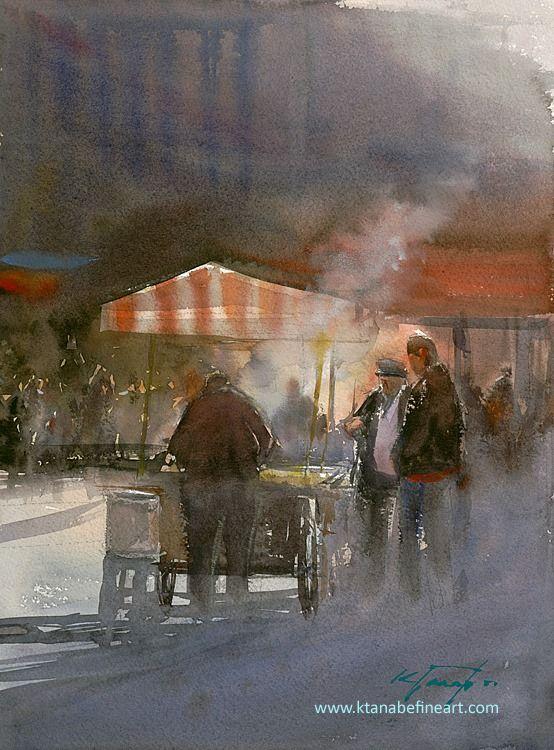 """Street Vendor, Turkey"" watercolor by Keiko Tanabe"