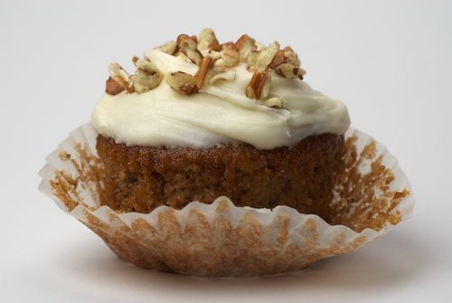 Hummingbird Cupcakes -- crushed pineapple, banana and pecans in the batter, with cream cheese icing.