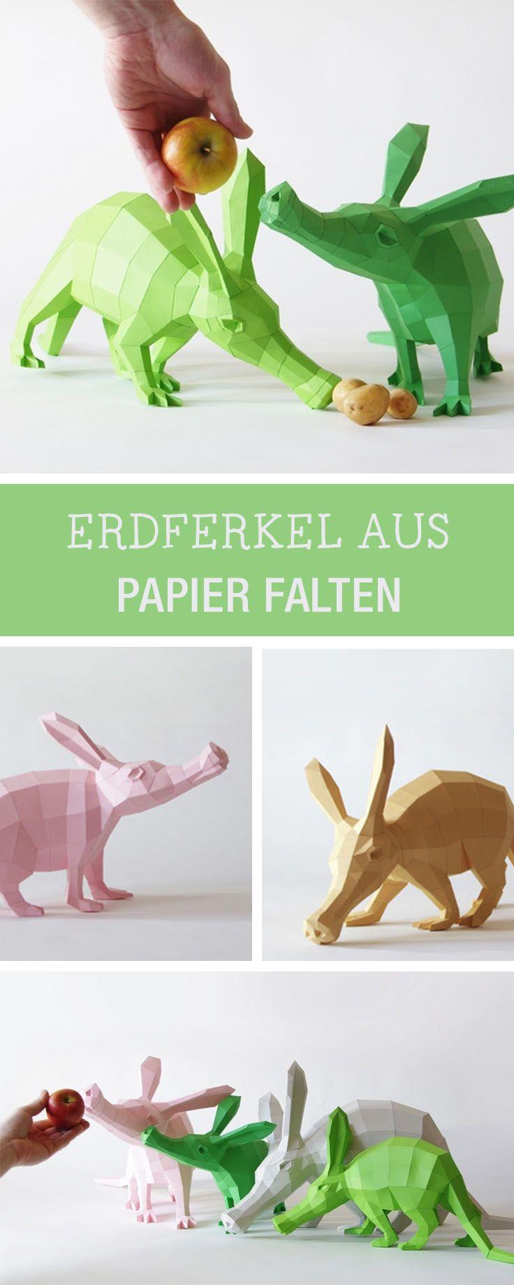 Witzige Erdferkel aus Papier: Printable für die Origami-Tiere gibt's hier / diy tutorial: origami aardvark made of paper via DaWanda.com (Cool Crafts Made)