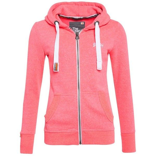 Superdry Orange Label Zip Hoodie (£50) ❤ liked on Polyvore featuring tops, hoodies, sweaters, jackets, women, pink, orange zip hoodie, zip up hoodie, red hoodie and hooded sweatshirt