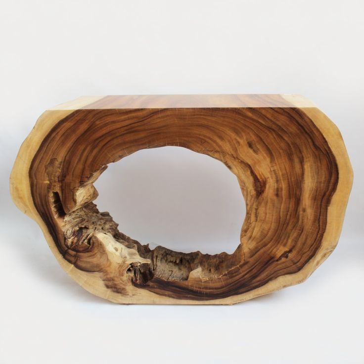 Organic two tone Albezia tree slab sliced into a beautiful console table with clear sealed finish.