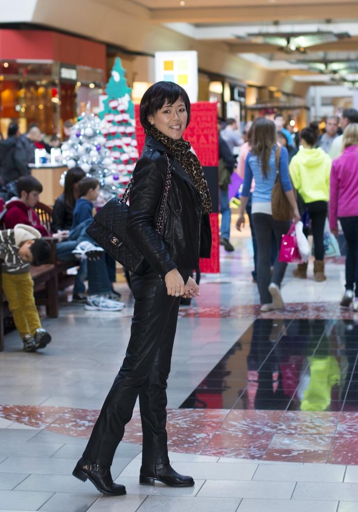 Chanel jumbo caviar, leather jacket and leather pants