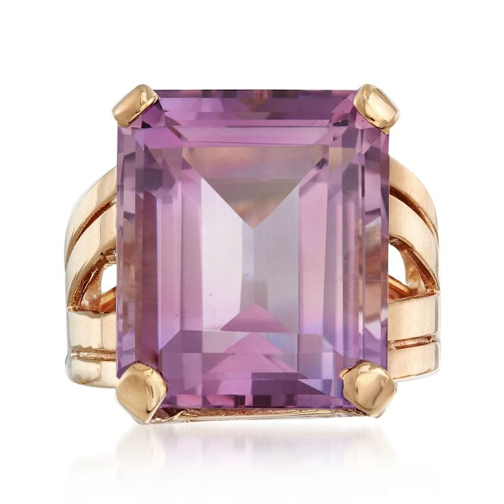 Vintage Amethyst Ring in 14kt Yellow Gold. Circa 1950. Known as the world's most popular gemstone, this 17.50 carat emerald-cut Amethyst from our Estate collection will delight one very special gemstone lover! Set in unique Retro-era 14kt yellow Gold split-shank, it would also make a memorable February birthstone piece. Exclusive, one-of-a-kind Estate Jewelry. Size 5.5 •EUR 1,330.37 || Ross-Simons Jewelry.