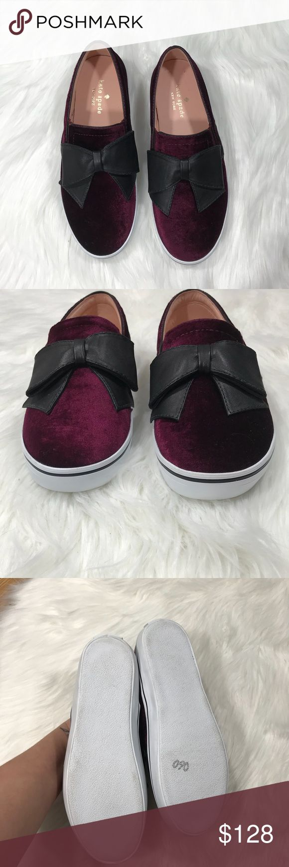 Kate Spade NWOT Delise Too Velvet Sneakers Brand new, never worn. Doesn't included tag or box. Slip on sneaker style. Has a couple of storage marks from being tried on in store. Has a leather and elastic upper, leather lining and rubber sole.   No trades Bundle all your likes for a private discount kate spade Shoes Sneakers