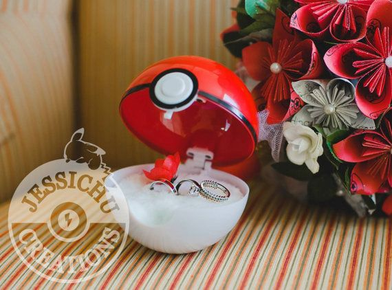 "Pokemon Pokeball Ring Box ""I Choose You"" - Wedding, Proposal"