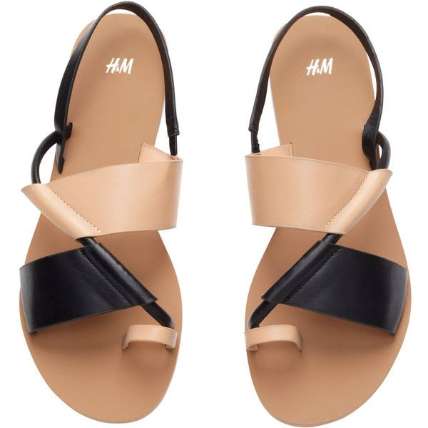 H&M Sandals ($31) found on Polyvore featuring shoes, sandals, flats, h&m flats, h&m, flats sandals, flat heel shoes and rubber sole shoes