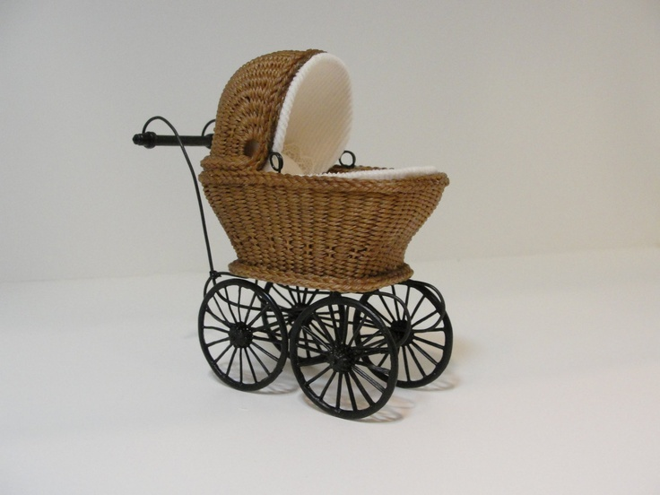 """MADE TO ORDER - Miniature Wicker Buggy for Dollhouses 1"""". $180.00, via Etsy."""