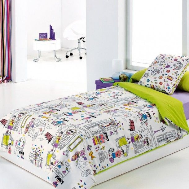 Funda nórdica modelo KIDS de la firma Cañete. Es el complemento ideal para acabar de vestir y decorar los dormitorios infantiles y juveniles de nuestros peques.