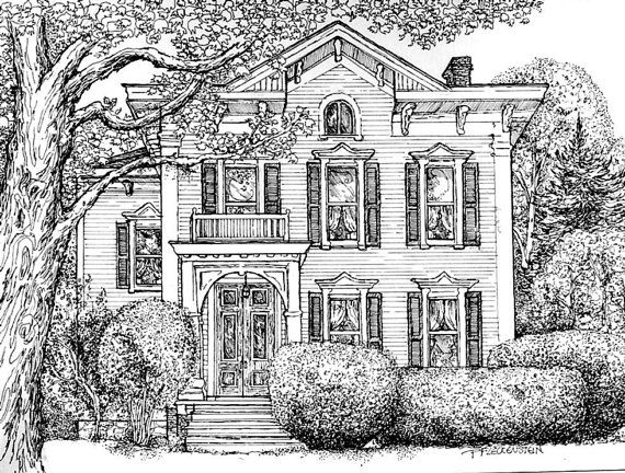 Pen And Ink House Drawing Watercolor House Portrait Original Custom Portrait Of Your Home