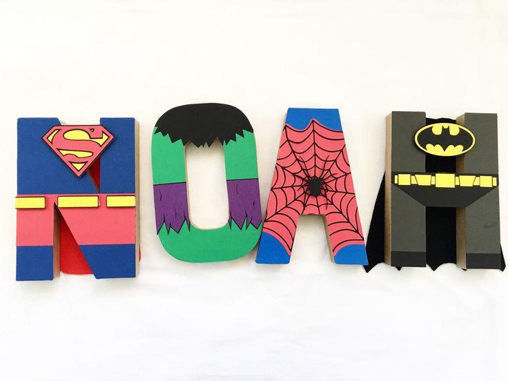 Super hero letter art / superhero party decor / superhero birthday party / superhero letter art by PaperoStudio on Etsy https://www.etsy.com/listing/481994171/super-hero-letter-art-superhero-party