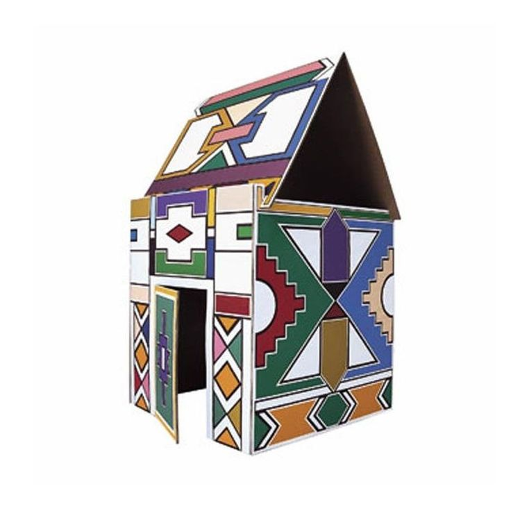 Driade, NDEBELE, Vittorio Locatelli, 2006. Game house for children in coloured cardboard Dimensions: cm W. 90 D. 92 H. 159.
