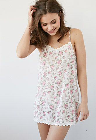 Crocheted Rose Print Nightdress | Forever 21 - 2000095781