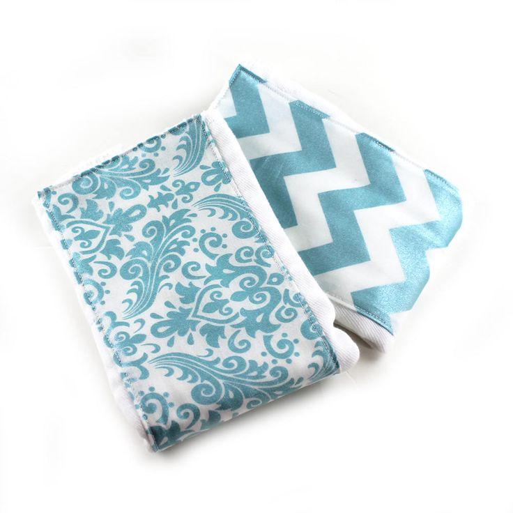 SALE Girl Burp Cloths - Aqua Glitter Chevron Damask - Set of 2 // Cotton Burp Cloth // Baby Shower Gift // Diaper Burp Cloth / Blue Burp by Sewingdreamsnotions on Etsy