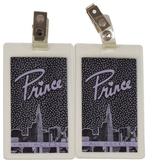 Prince Parade Pair of Laminate All Access Passes Pair of laminated purple all-access passes for a Prince concert at The Warfield Theatre in San Francisco, California, on May 23, 1986, as part of the...