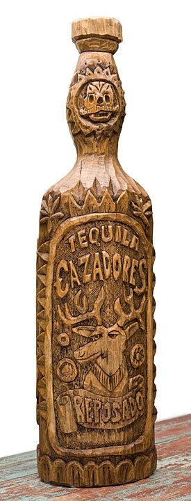 Gallery in Marfa sells carved tequila bottles