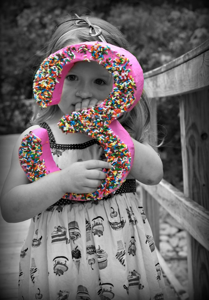 my little girls 3rd birthday picture! diy paper mache 3 was covered in sprinkles,to keep with our Ice Cream themed birthday party!