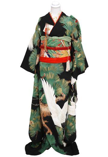 【アンティーク】黒地 老松総柄に鶴 : 着物・衣裳らくや