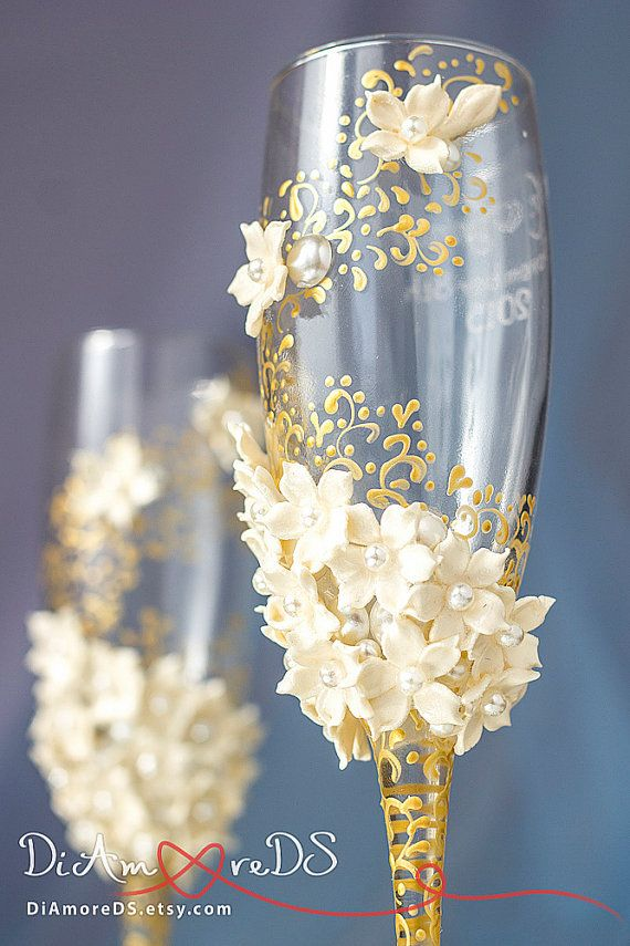 ON SALE 25% Ivory & gold wedding glasses from the by DiAmoreDS