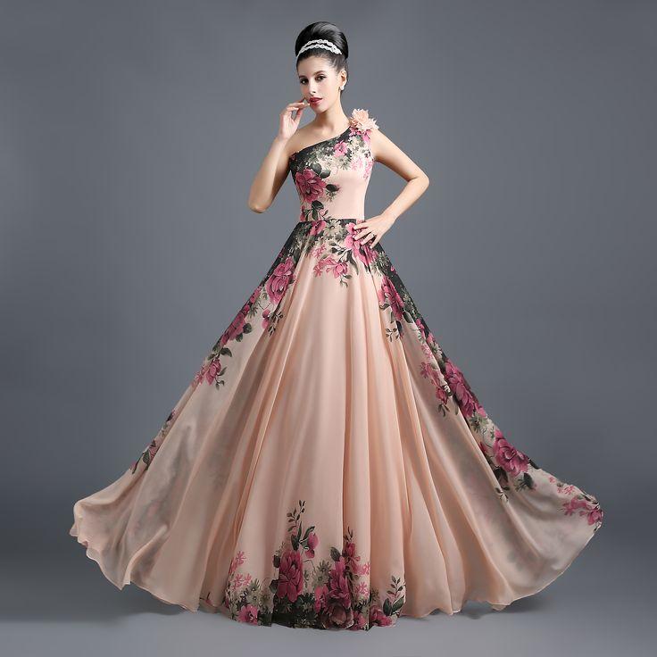 $89- One Shoulder Cheap Prom Evening Dresses Print Flowers Floor Length Chiffon Pink Custom Summer Party Dresses - babyonlinedress.com