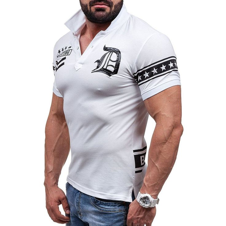 White Graphic Star Print Short Sleeve Men Polo T-shirt