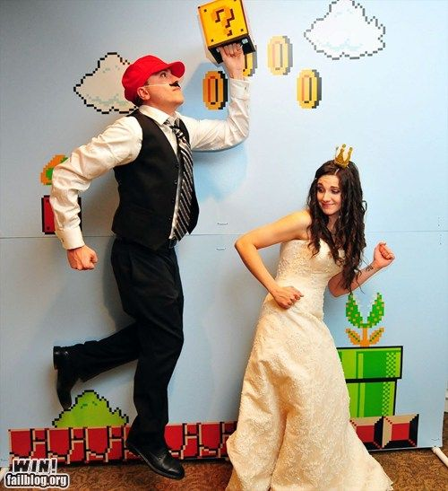 Super Mario Photo Booth Backdrop. They are at a wedding but this is good at any party!