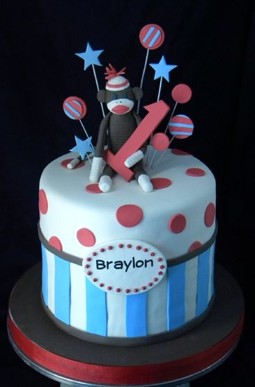 Red & White Polka Dots with Blue & White Stripes Sock Monkey Cake (Braylon)