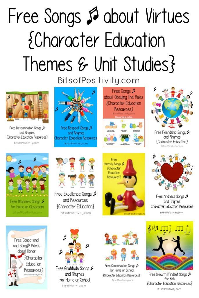 Free Songs About Virtues With Character Education Themes Unit Studies Character Education Study Unit Mindfulness For Kids