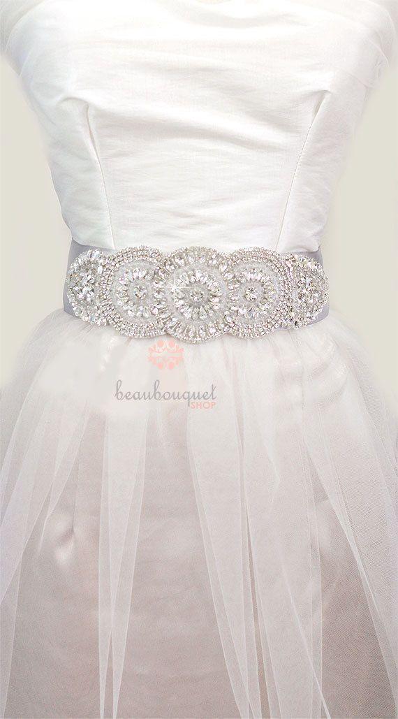 Crystal Bridal Sash Bridal Beaded Rhinestone Sash Wedding Sash via Etsy