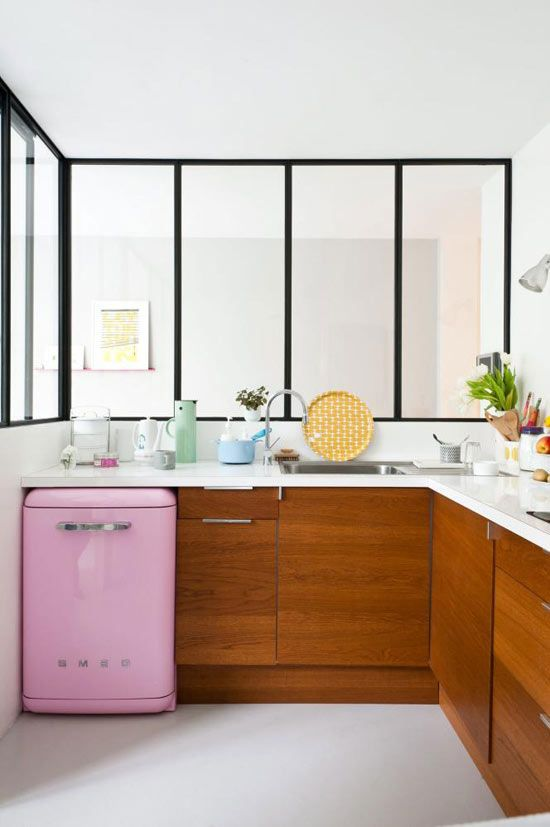 Kitchen designed by  Caroline Gomez. Image by Julien Fernandez.: Pink Smeg, Wood Cabinets, Kitchens Design, Small Kitchens, Minis Fridge, Smeg Fridge, Design Kitchen, Modern Kitchens, White Kitchens