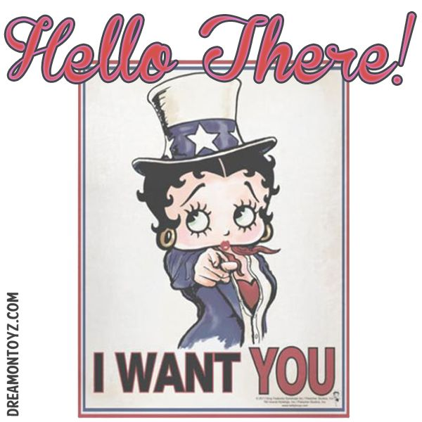 Hello There!  More Betty Boop Graphics & Greetings: http://bettybooppicturesarchive.blogspot.com/ and on Facebook https://www.facebook.com/bettybooppictures/ SHOP for Betty Boop https://www.facebook.com/shopforbettyboop/   Betty Boop dressed as Uncle Sam - I WANT YOU #Patriotic