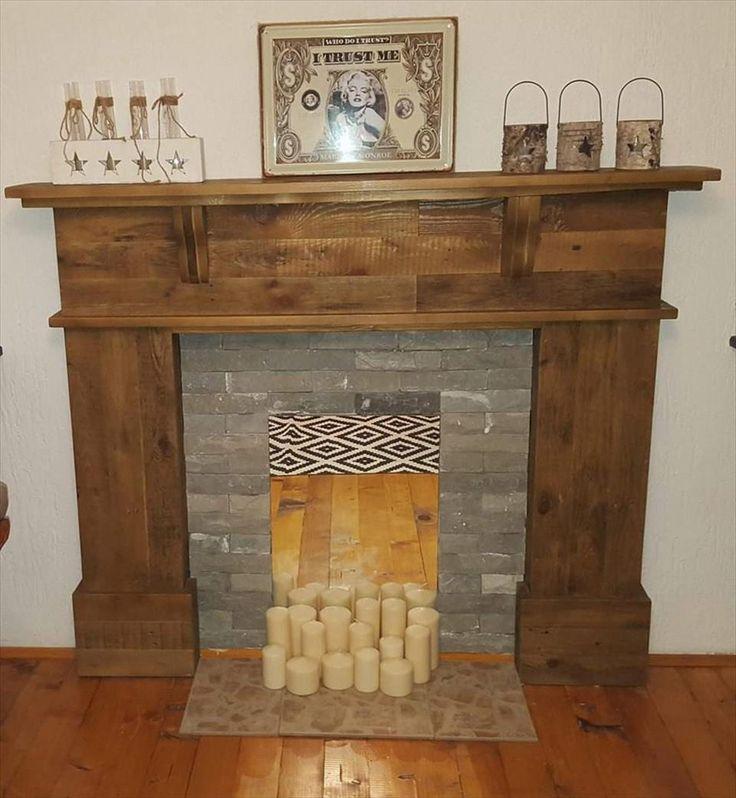 Pallet Fireplace Mantel: