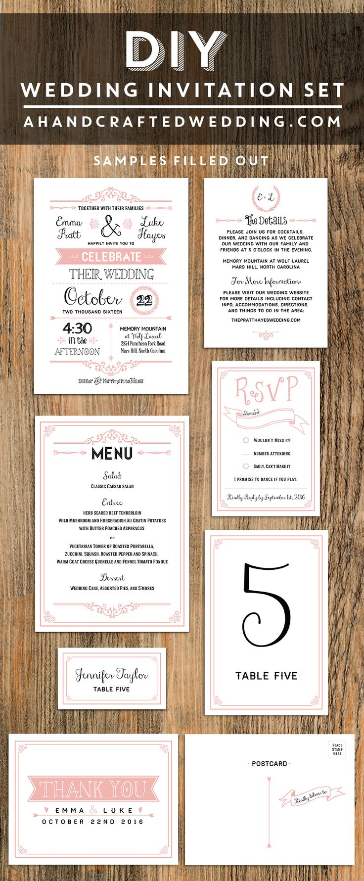 custom wedding invitations nashville%0A Printable Blush Pink Wedding Invitation Set