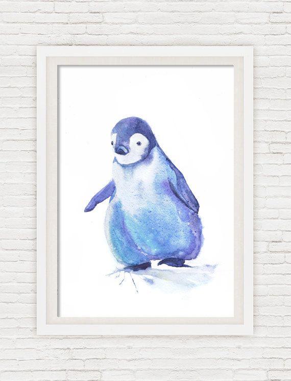 Baby Pinguin Art Watercolor Painting Baby Boy Blue Nursery Decor, Girl, pinguin…