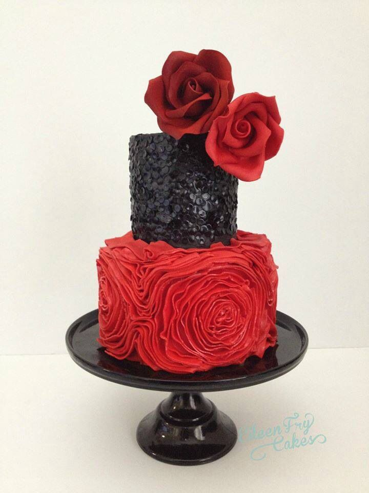 Red and black sequins cake