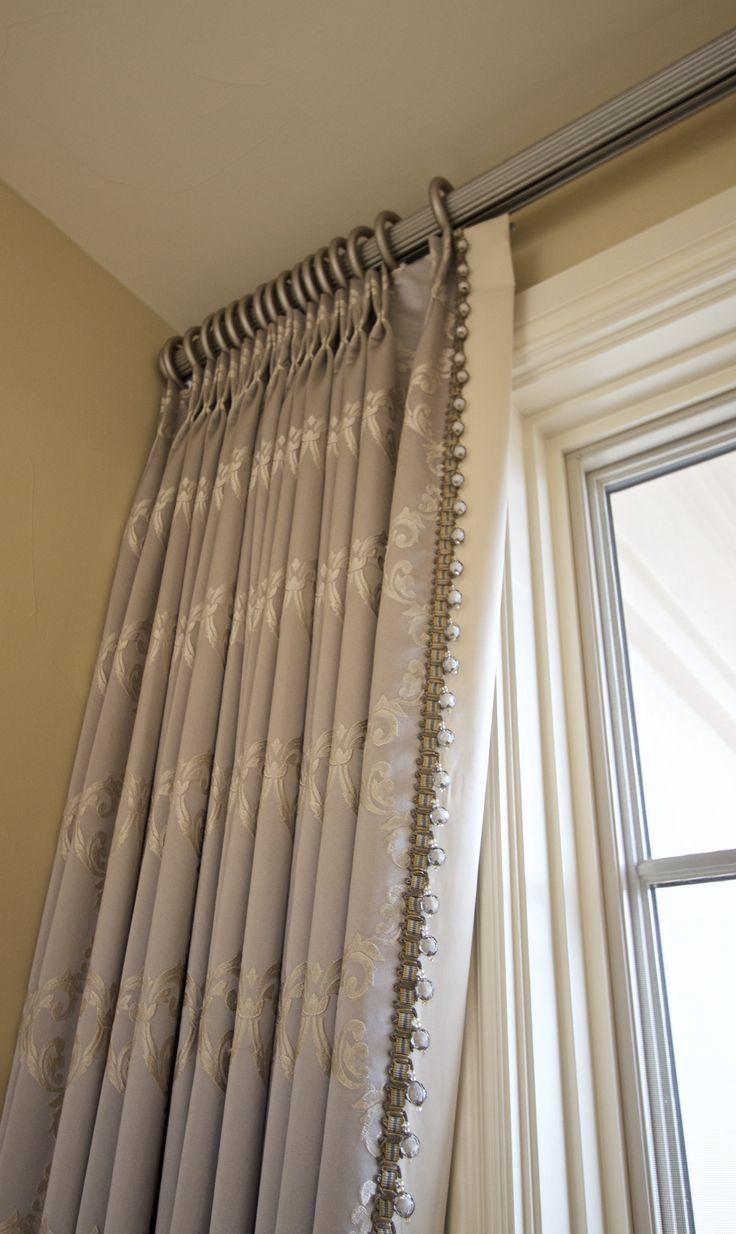 Trend Fabric With Lead Edge Beading Hanging From Traversing Fluted Rod Bathroom Window Dressing Custom Window Treatments Drapery Treatments