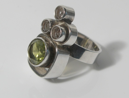 Ring | Elis Kauppi for Kupittaan Kulta Oy.  Sterling Silver Rock Crystal & Citrine.  Finland c.1960