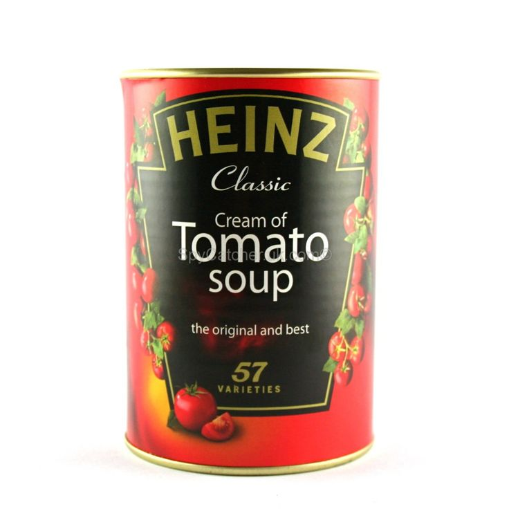 Camo Safe - Heniz Tomato Soup ~   This camo safe is hidden inside a tin of Heinz Tomato Soup, a household staple that blends into any home. Made from a real Heinz soup tin this safe is indistinguishable from any other bought from a local shop.