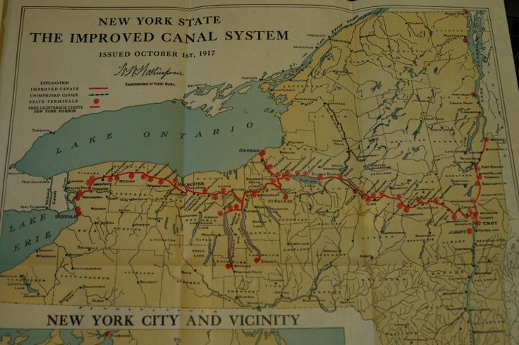 1917 Map Of New York State Barge Canal System Old Canals In Ny: New York Canal System Map At Slyspyder.com